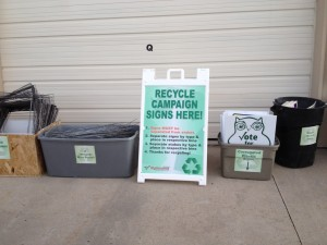 Recycle Signs & Stakes in the Correct Bins!